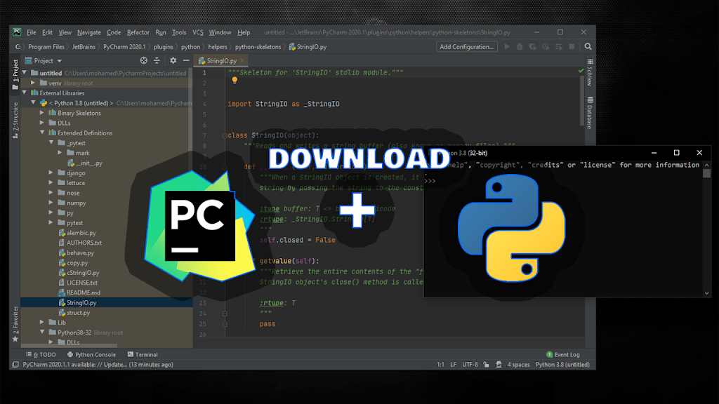 Install PyCharm IDE + python on Windows + Creating and Running Your First Python Project